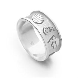 """Ring """"Ostsee 2.0"""" sandlos, matt, hell rhodiniert"""