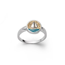"""Ring """"Ahoi"""" Strandsand/bl. Steinsand"""
