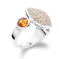 Ring Strandsand /Bernstein 925er Silber